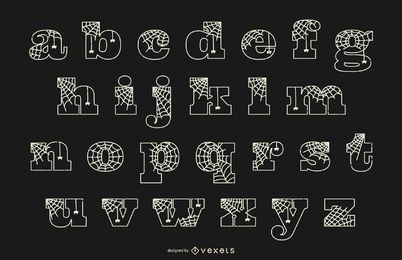 Alphabet lowercase line spiderweb