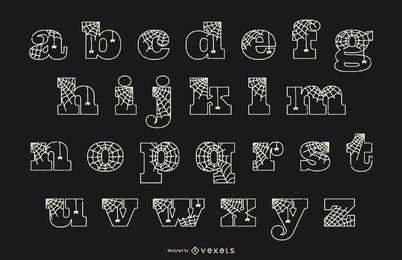Linha de aranha em letras minúsculas do alfabeto