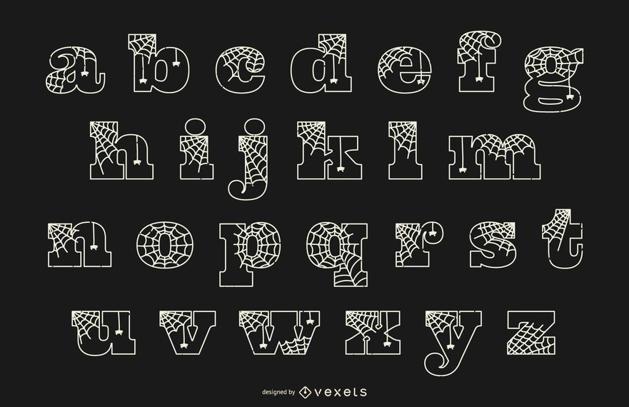 Alfabeto minúscula linha spiderweb