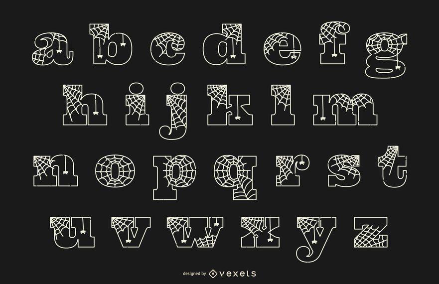 Tela de araña de línea minúscula del alfabeto