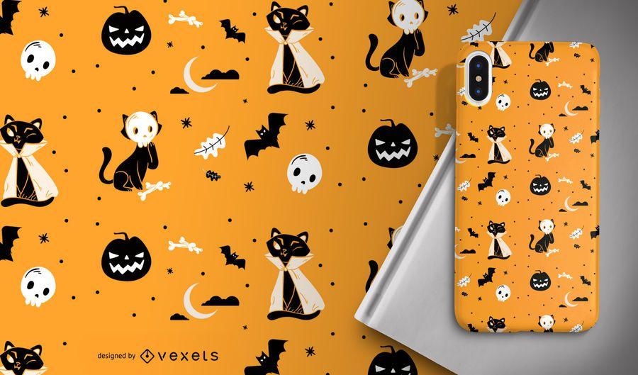 Padrão de gatos de fantasia de Halloween