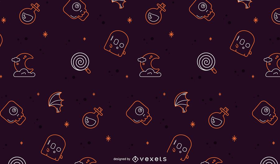 Diseño de patrón de línea de Halloween