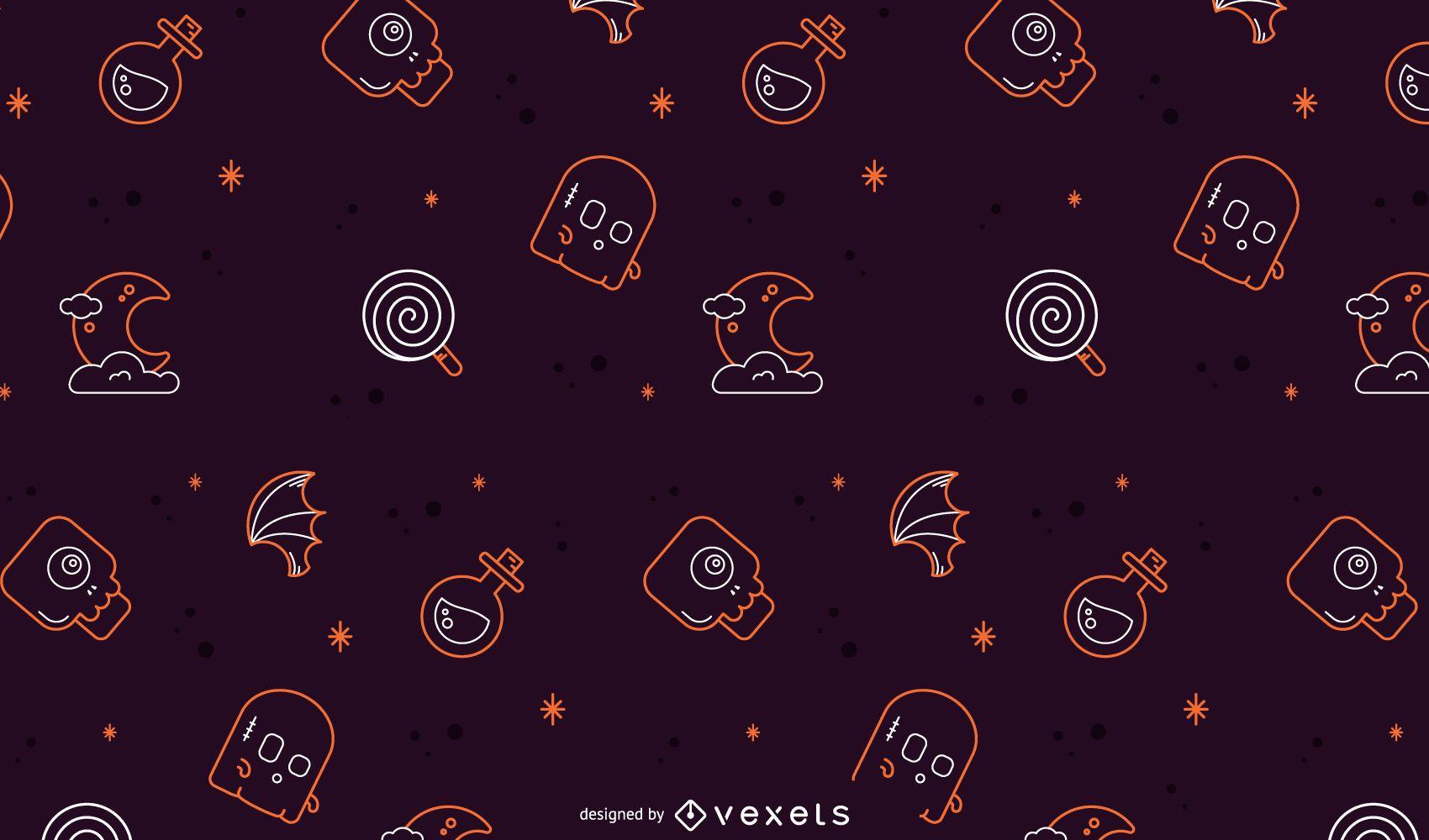 Halloween line pattern design