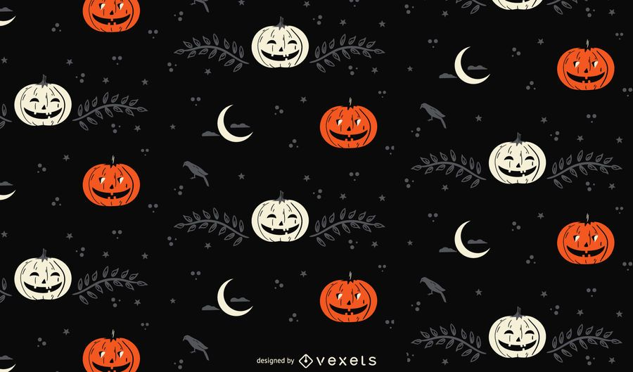 Halloween Moon and Pumpkin pattern