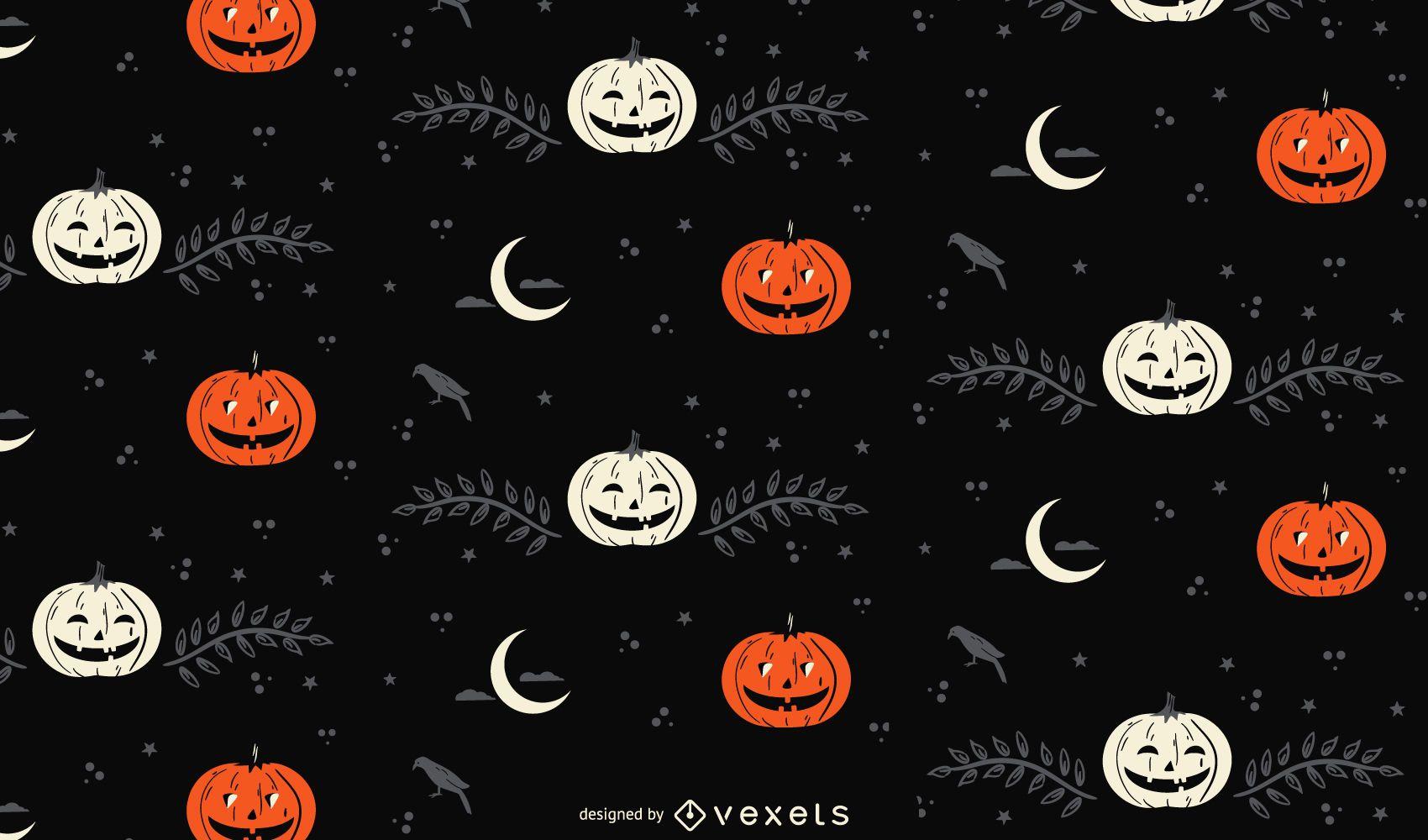 Patrón de luna y calabaza de Halloween