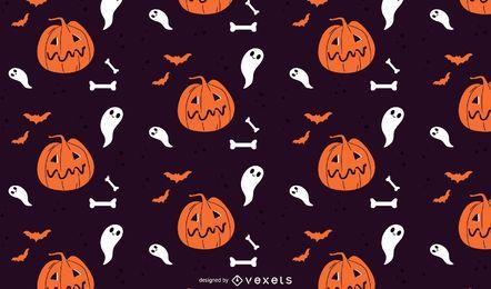 Patrón de halloween de calabazas y fantasmas