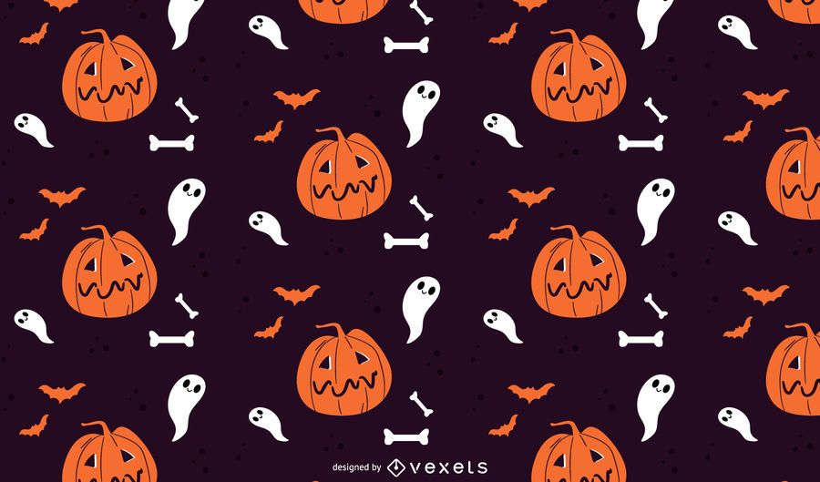 Pumpkins and ghosts halloween pattern