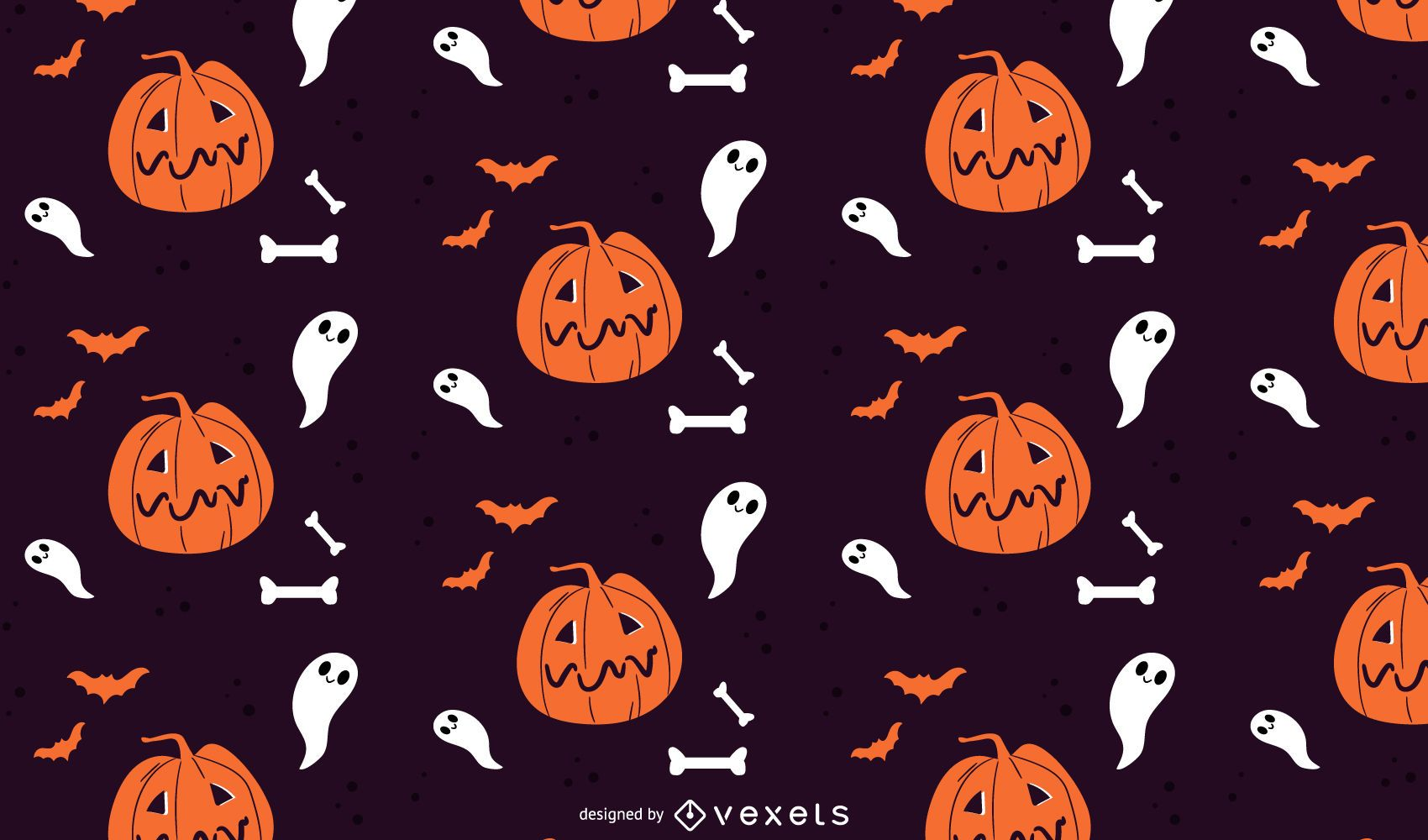 Pumpkins and ghosts halloween pattern