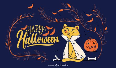 Ilustração de gato feliz dia das bruxas