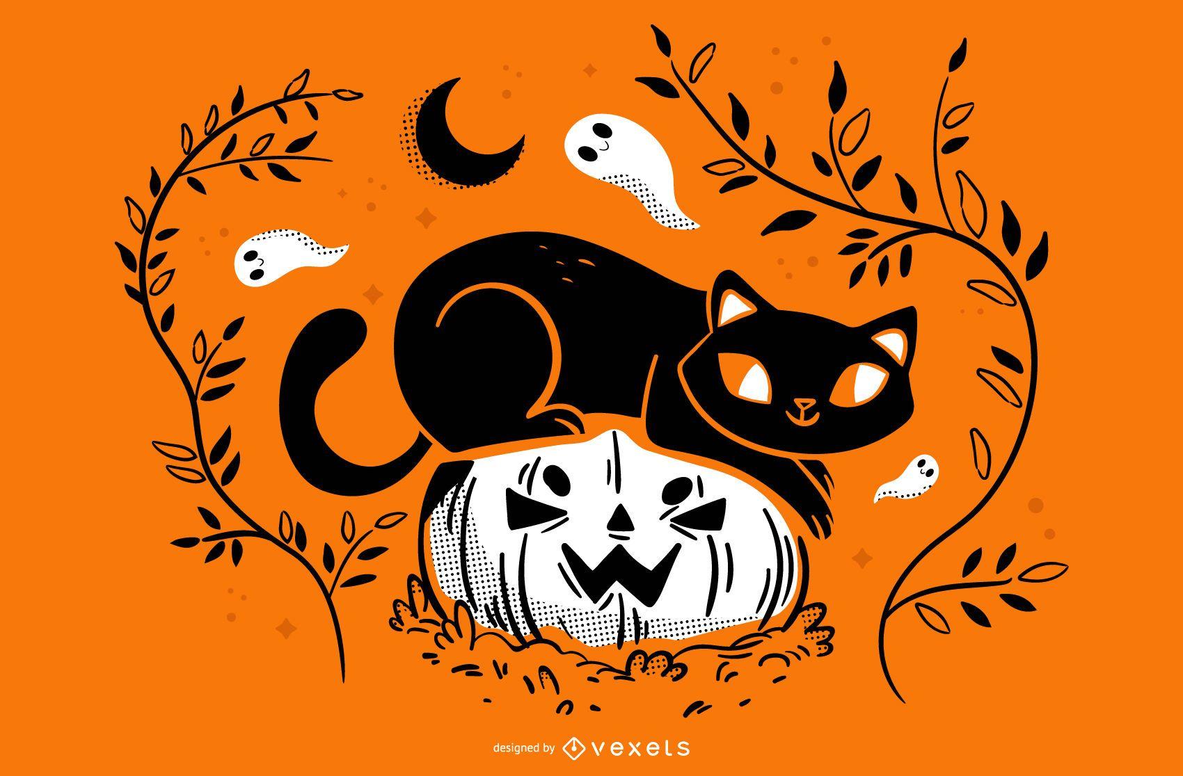 Ilustración de halloween de gato calabaza