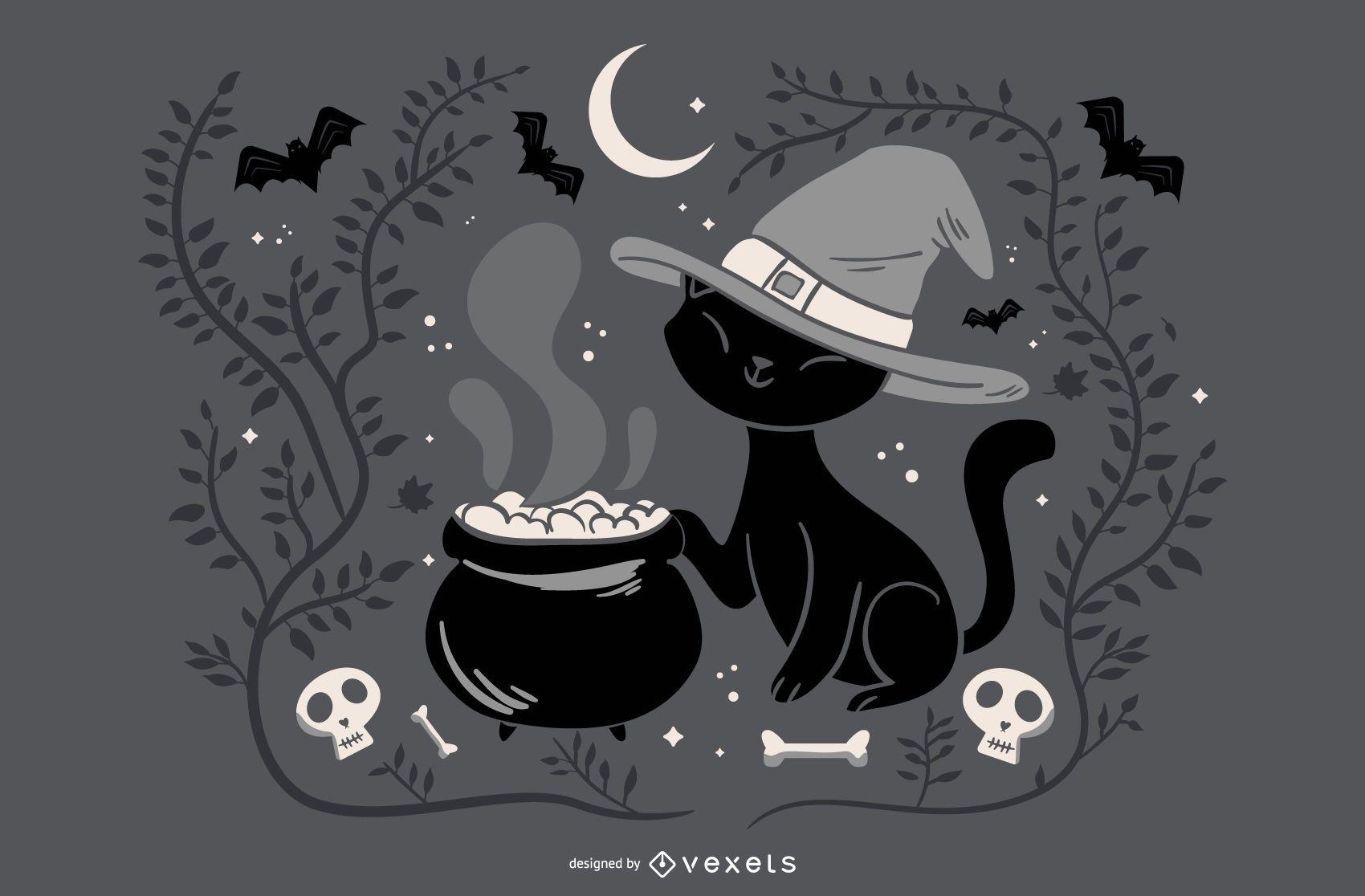 Ilustração de bruxa gato halloween