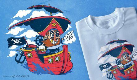Projeto do t-shirt do pirata dos desenhos animados