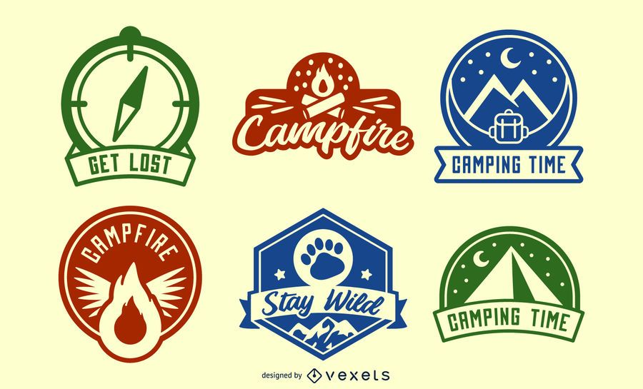 Camping backpacking badges set