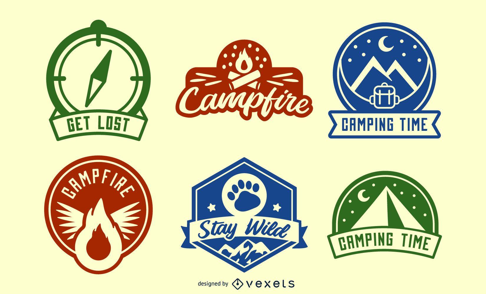 Camping backpacking badges set