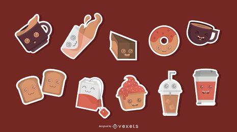 Conjunto de adesivo de personagens de café da manhã