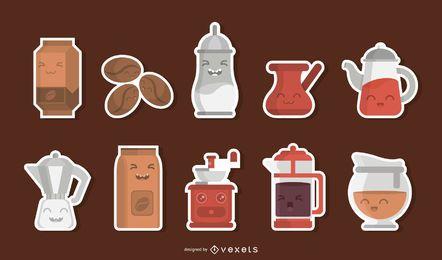 Conjunto de adesivos de caracteres de café