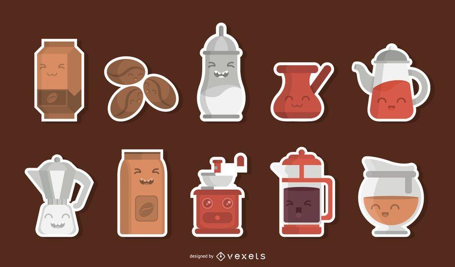 Kaffee Zeichen Aufkleber Set