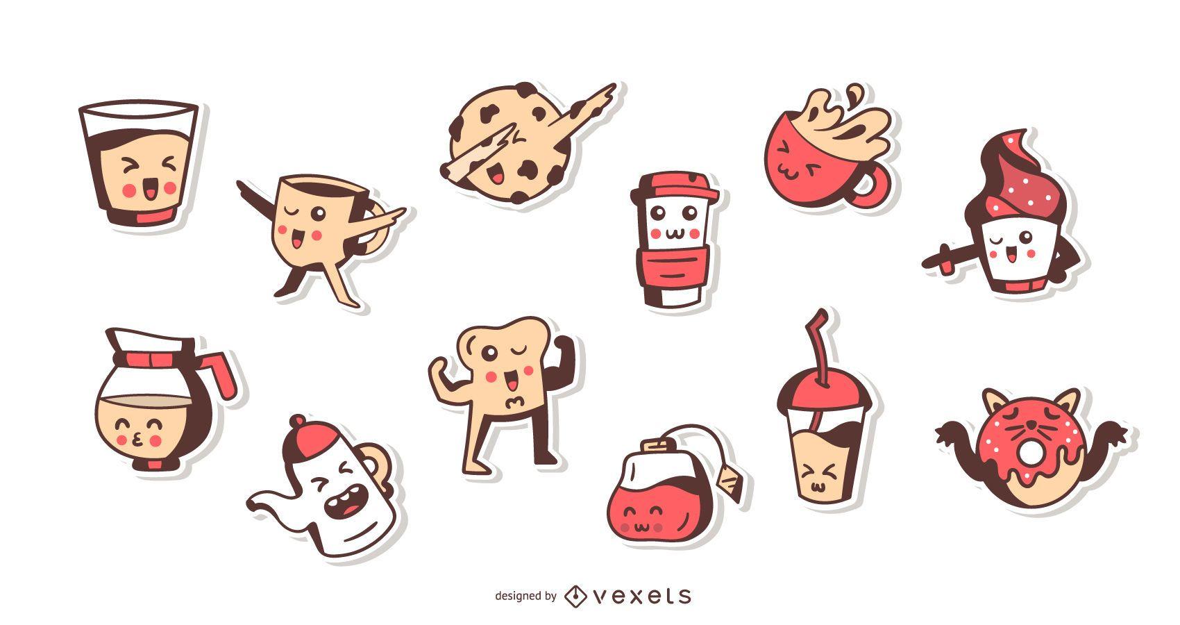 Kawaii coffee time sticker set