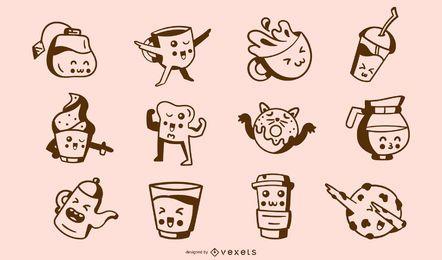 Coleção de traço de tempo de café kawaii