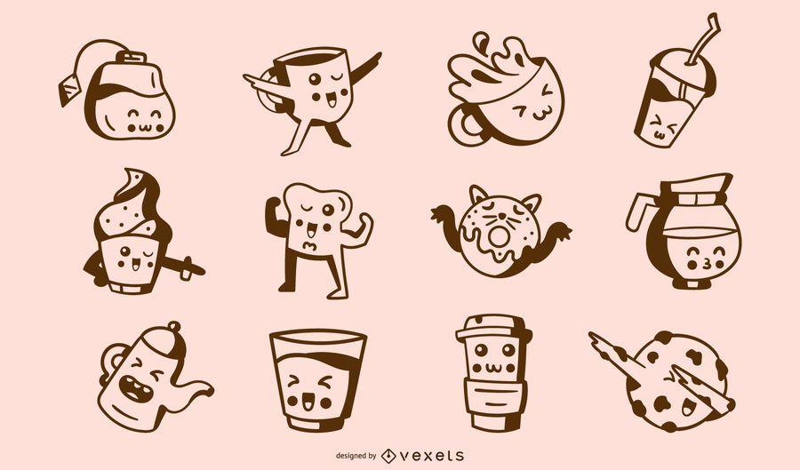 Kawaii coffee time stroke collection