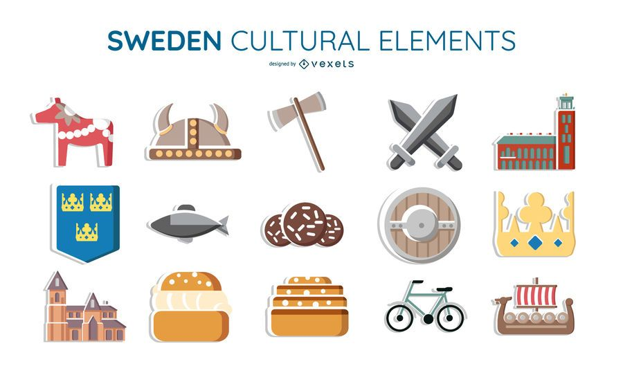 Sweden cultural elements set