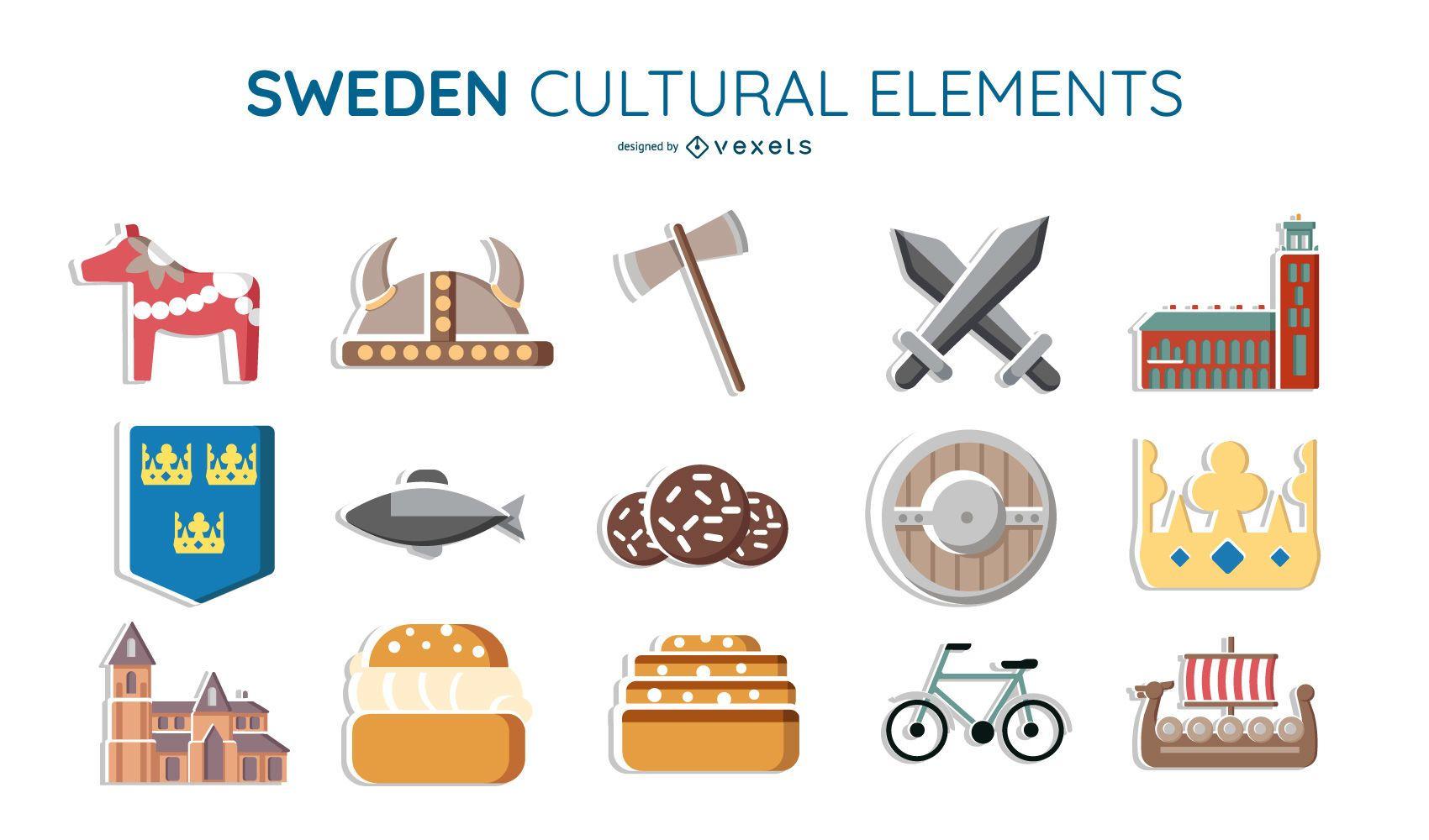 Sweden cultural elements set