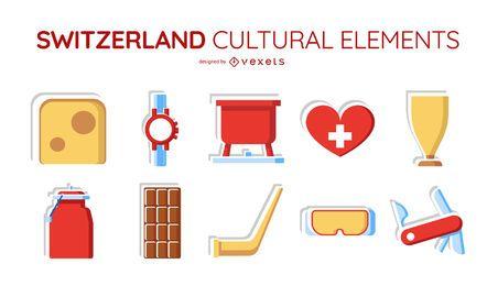 Conjunto de elementos culturais da Suíça