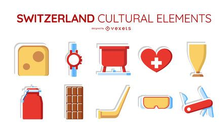 Switzerland cultural elements set