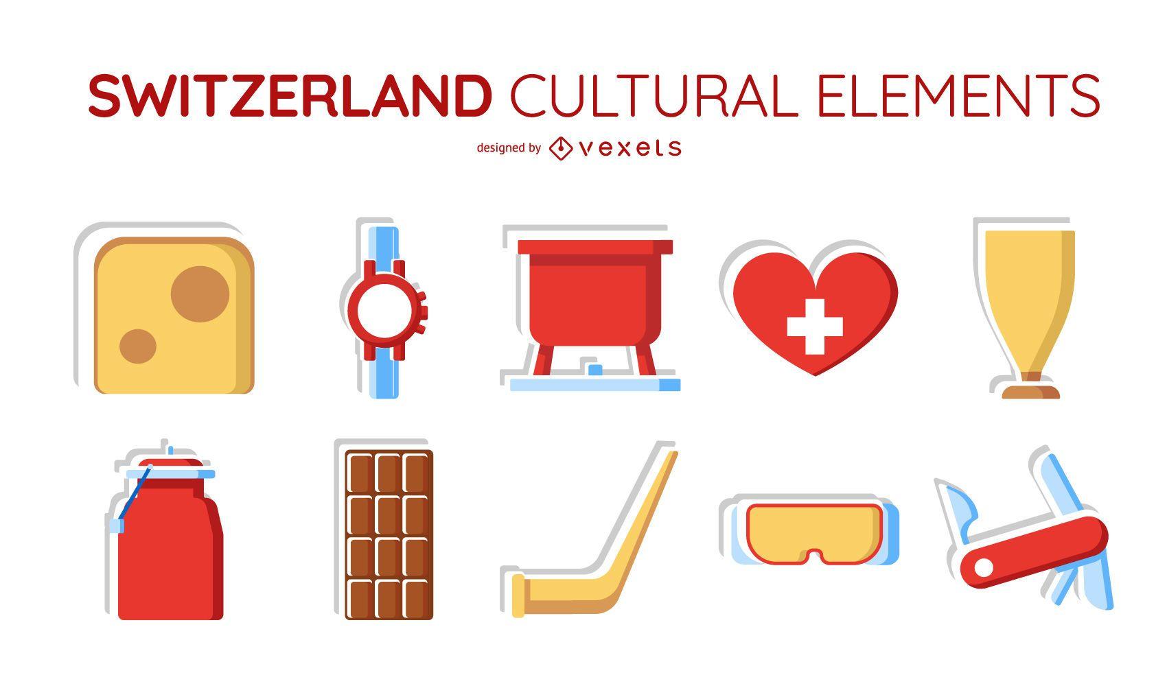 Switzerland cultural elements set