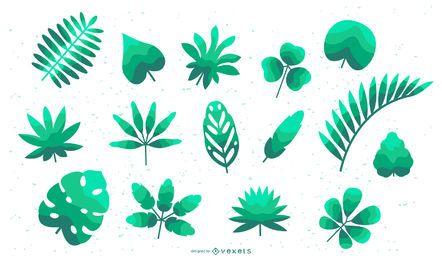 Conjunto plano de hojas tropicales