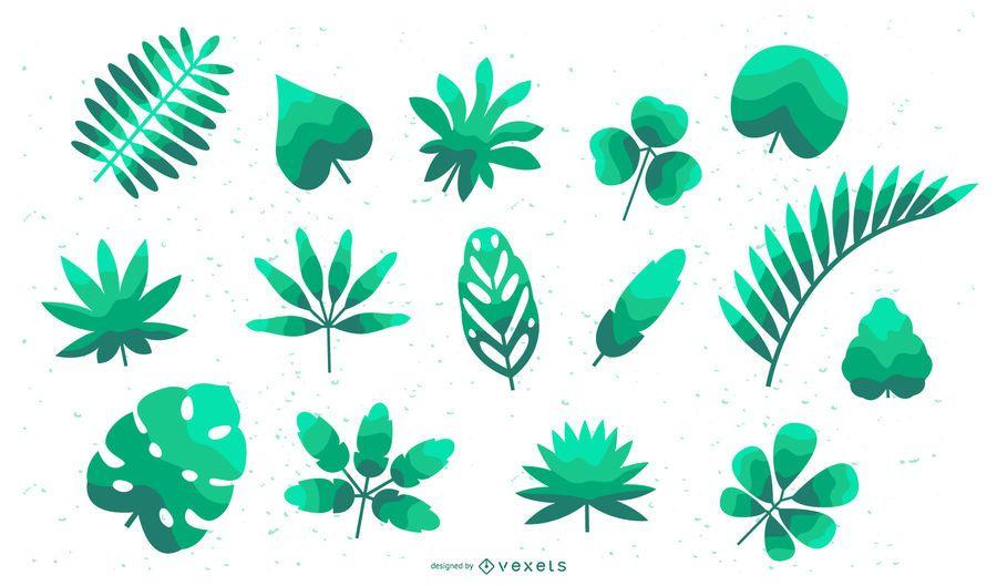 Tropical leaves flat set