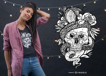 Design de camiseta para tatuagem de esqueleto