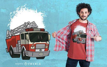 Diseño de camiseta de ilustración de camión de bomberos