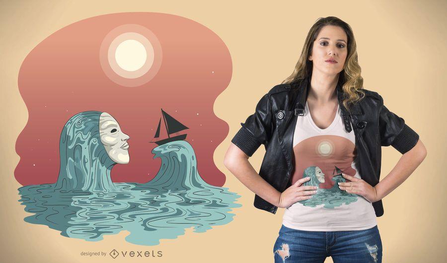 Projeto do t-shirt do fantasma do mar