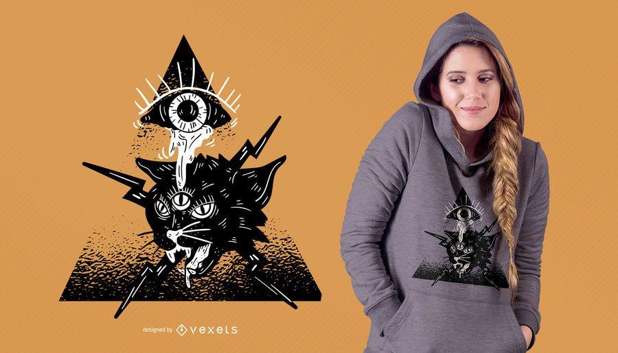 Design de t-shirt do gato alienígena de Halloween