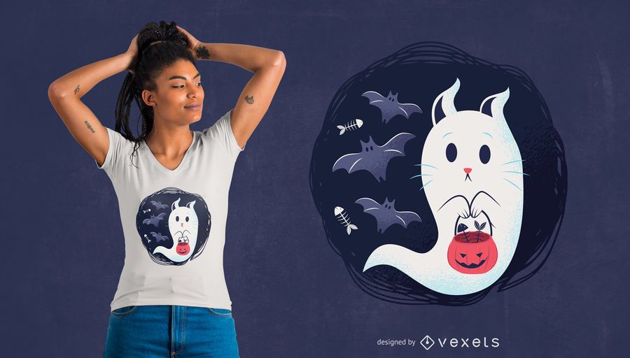 Diseño de camiseta de gato fantasma