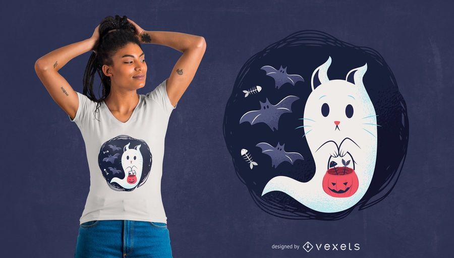 Projeto do t-shirt do gato do fantasma