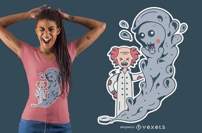 Diseño lindo de la camiseta del científico loco