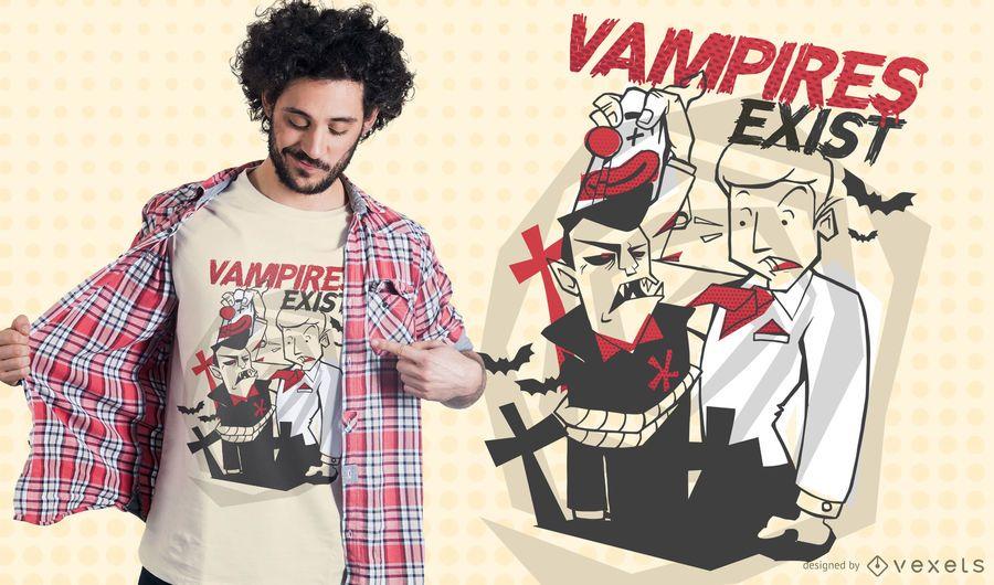 Os vampiros existem design do t-shirt
