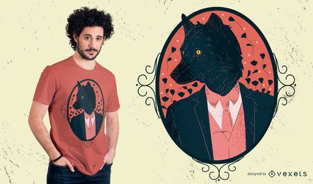 Diseño elegante de camiseta de hombre lobo