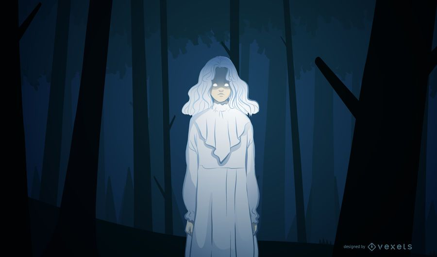Gruselige Mädchenhalloween-Illustration