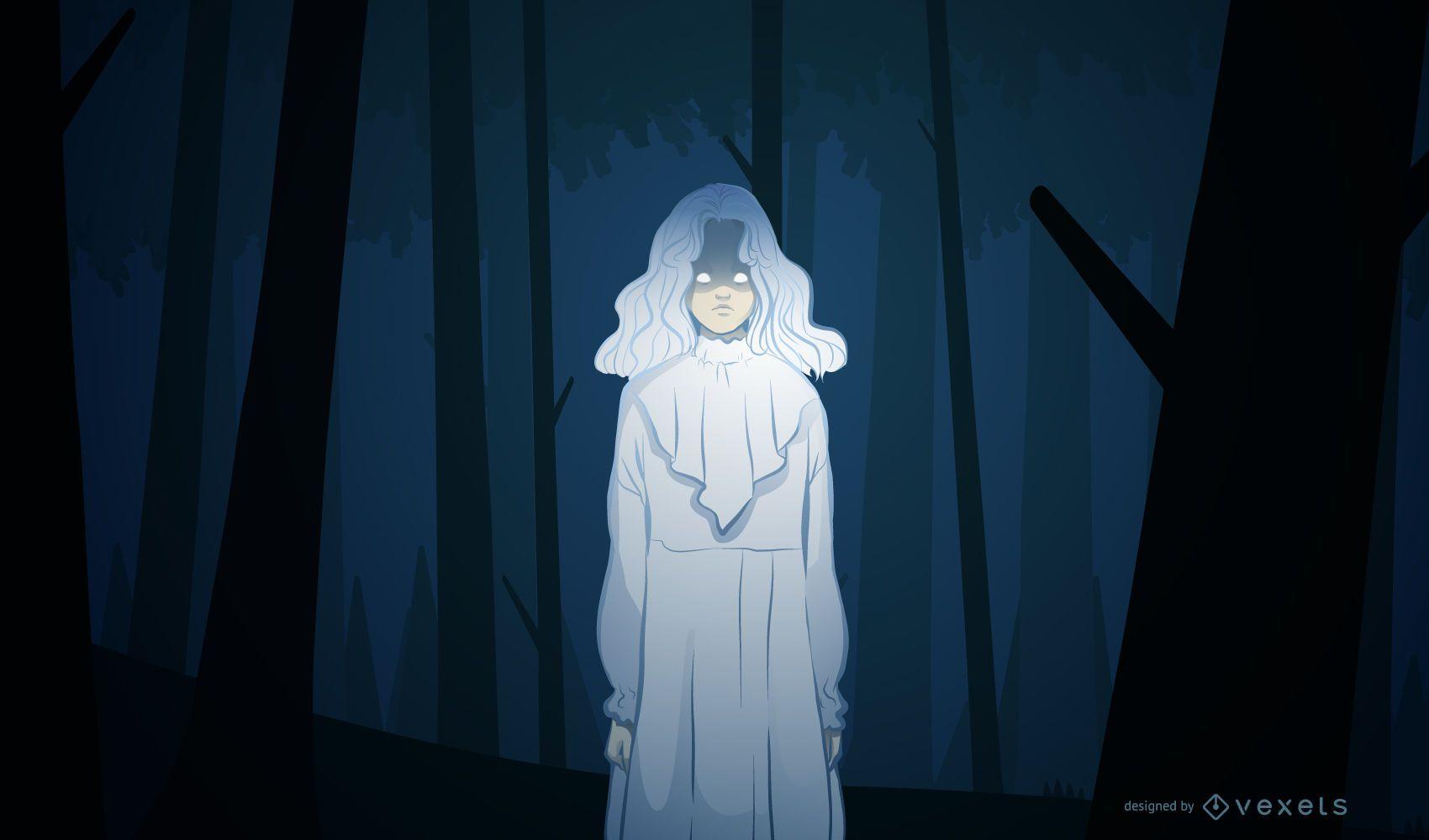 Creepy girl halloween illustration