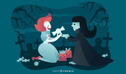 Ilustración de halloween payaso y vampiro