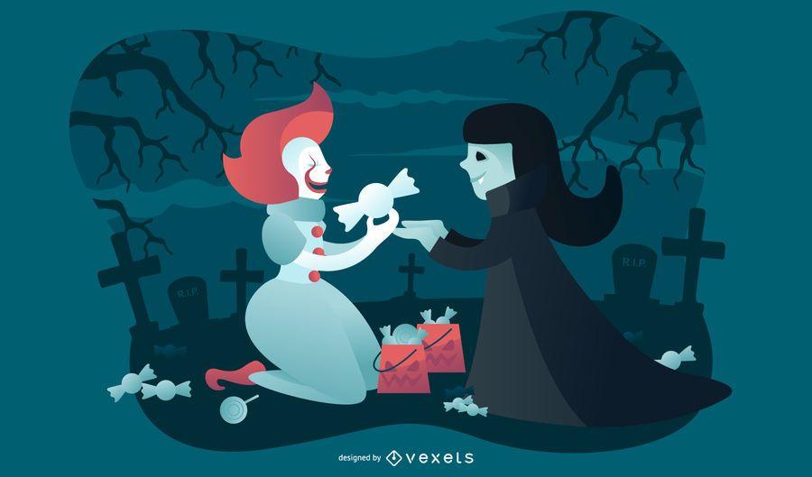 Clown and vampire halloween illustration