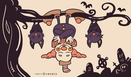 Ilustración de halloween payaso y murciélagos