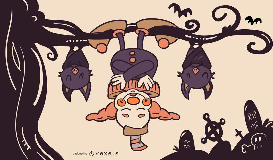 Palhaço e morcegos halloween ilustração