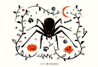Ilustração de aranha de Halloween