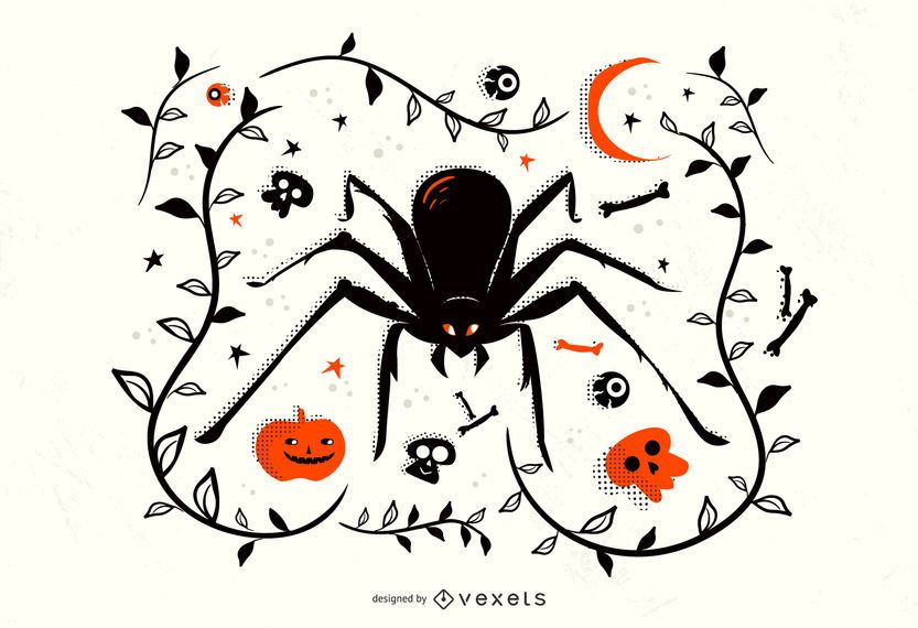 Ilustración de araña de Halloween