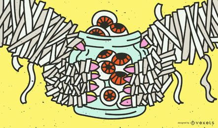 Jar of eyes halloween illustration