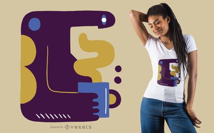 Abstract coffee man t-shirt design